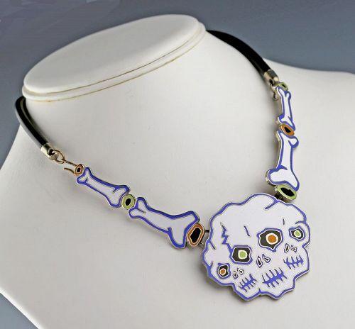 Acme Studios Enamel Skeleton Necklace by Neon Park 1980s