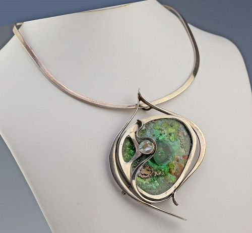 S. Zilka Sterling and Glass Pendant/Brooch Israel