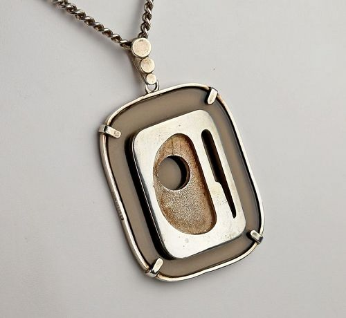 Modernist Mexican Sterling and Plexi Pendant Necklace 1970