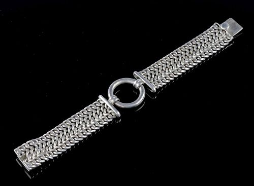 "Heavy Sterling Chain Bracelet  8 5/8"" Mexico"