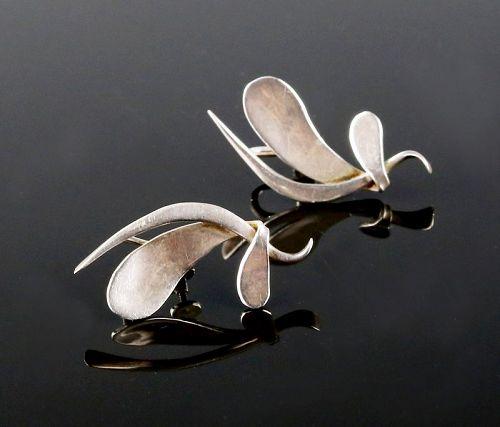 Fridl Blumenthal Modernist Sterling Earrings Mid 20th Century