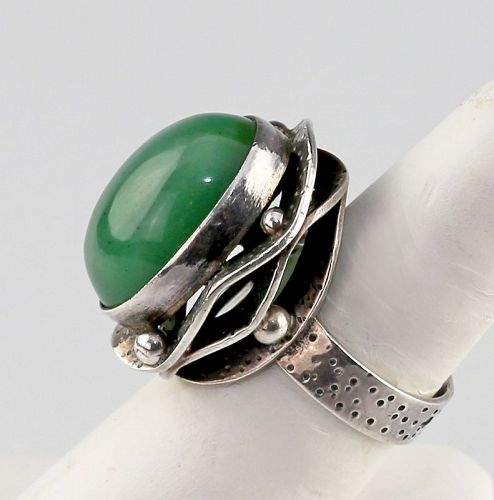ORNO Silver [800] and Chrysoprase Modernist Ring Poland