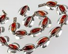 CARL OVE FRYDENSBERG  Danish Modernist Sterling and Amber Set