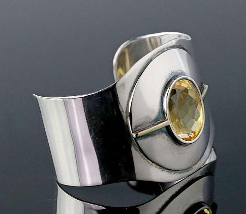 Modernist Sterling Silver, 14K Gold and Citrine Cuff Bracelet