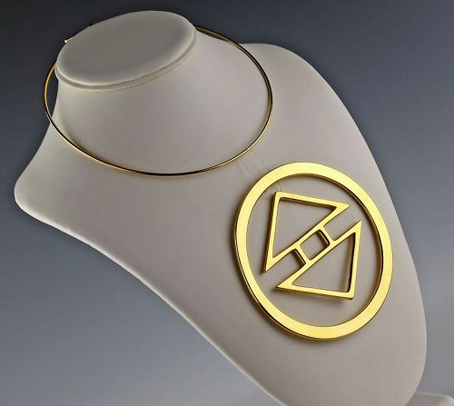 Phyllis Mark Modernist  Kinetic Sculptural Necklace 1970's