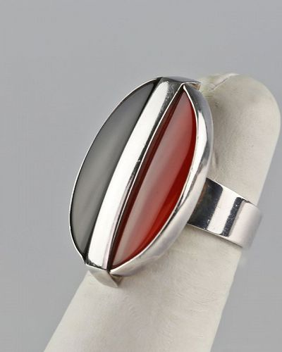 N.E. From Modernist Sterling Carnelian and Onyx Ring Denmark