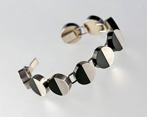 Arne Johansen Modernist Sterling and Onyx Bracelet Denmark