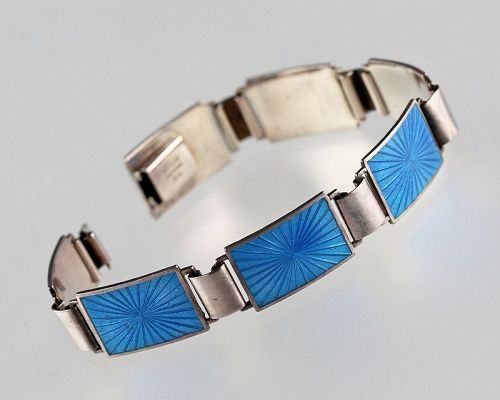 Danish Modernist Sterling and Enamel Bracelet Viskandia Denmark 1960 M