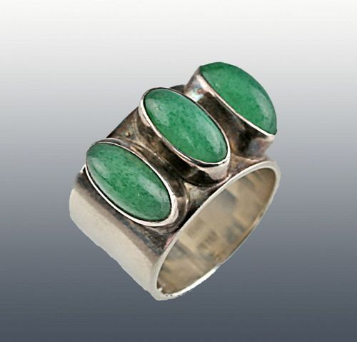 Lisbeth Nordskov Modernist Sterling and Stone Ring Denmark