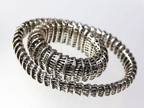 Modernist Sterling Bracelet and Necklace Set Vicenza Italy