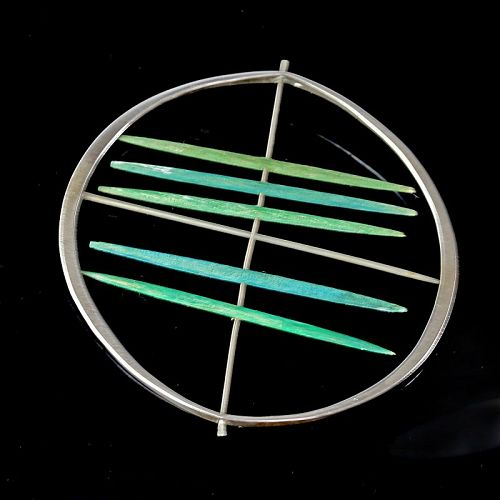 Betty Cooke Modernist Sterling and Wood Kinetic Brooch 1950