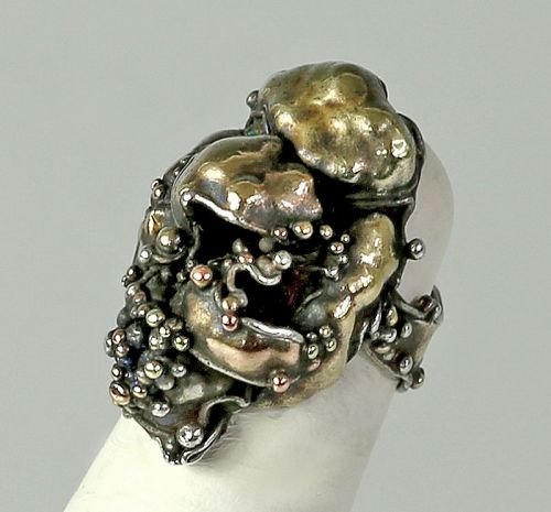 Marci Zelmanoff Modernist Mixed Metals Ring 1970 Brutalist