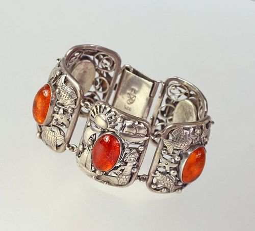 George Kramer Early Modernist Deco Silver and Amber Bracelet Germany