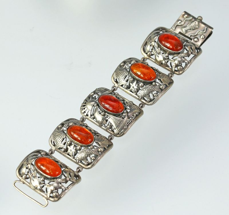 George Kramer Early Modernist Deco Silver and Amber Bracelet Germany