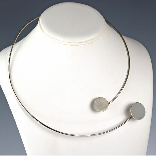Betty Cooke Modernist Sterling Double Disk Necklace Mid Century