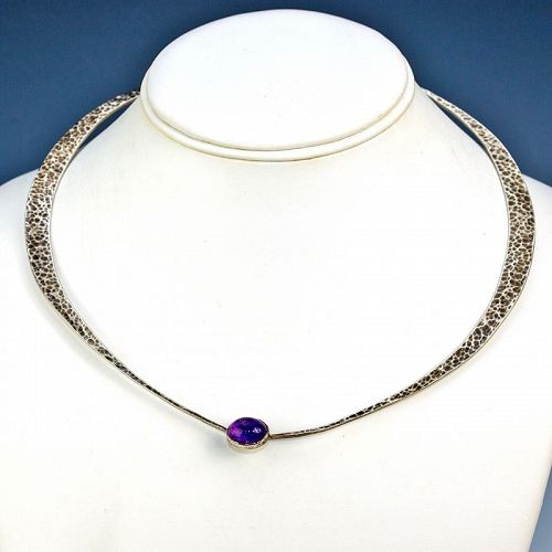 Modernist Hand Hammered Sterling and Amethyst Necklace