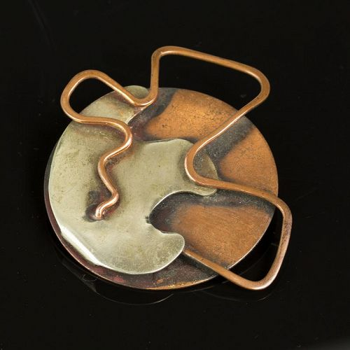 Philip Morton Modernist Silver and Copper Free From Brooch 1950