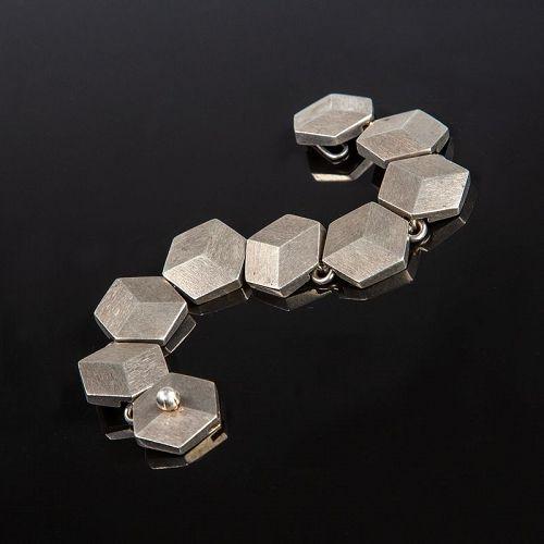 Hans Hansen Modernist Cubist Sterling Bracelet Denmark