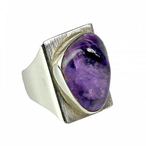 Jane Wiberg Modernist Sterling and Amethyst Quartz Denmark