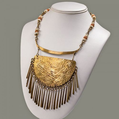 Handcrafted Modernist Brutalist Fringe Necklace