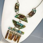 1960s Modernist Fused Glass Necklace Brutalist