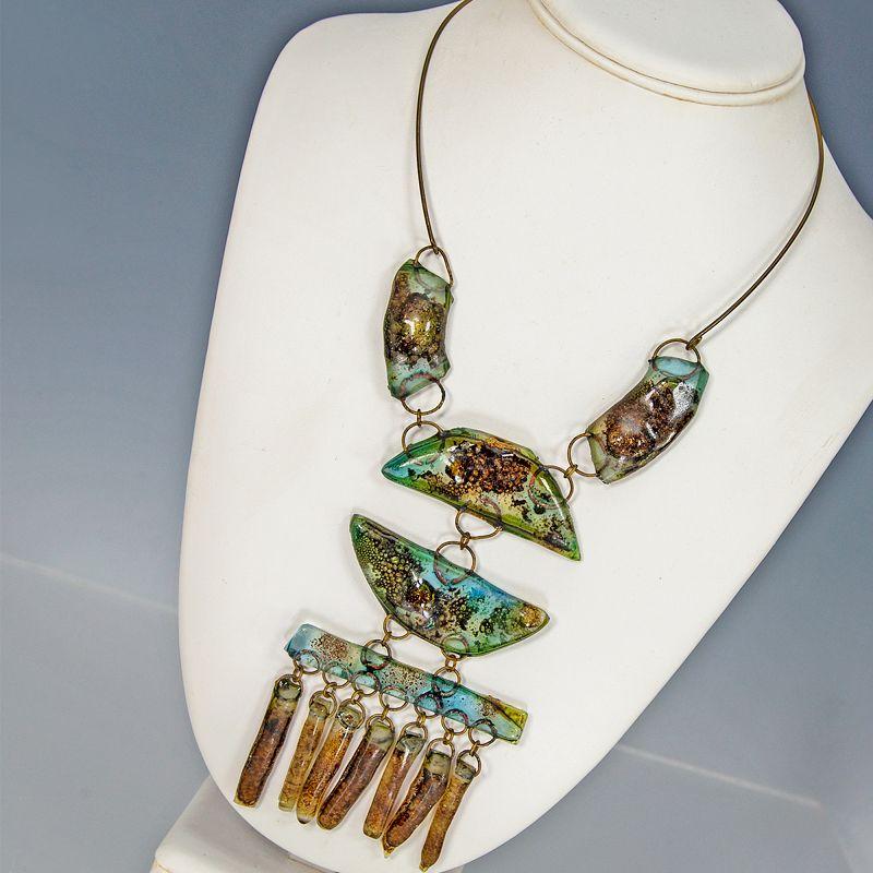 1960s Modernist Fused Glass Necklace Brutalist