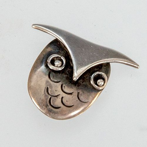 Frances Holmes Boothby Modernist Sterling Owl Brooch 1950�
