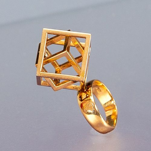 Modernist 18K Gold Cage Ring