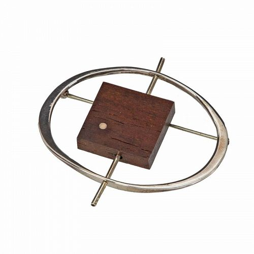 Betty Cooke Modernist Sterling and Wood Brooch