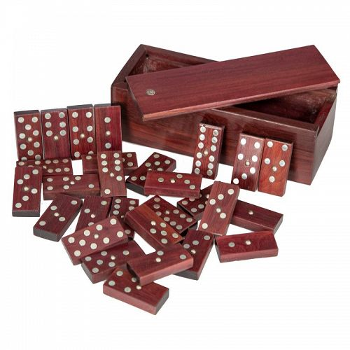 Sterling and Wood Domino Set Mid Century Mexico Mid Century