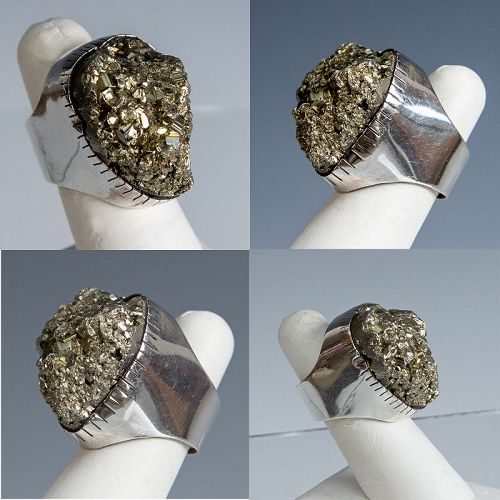 Rebecca Collins Modernist Sterling and Pyrite Ring