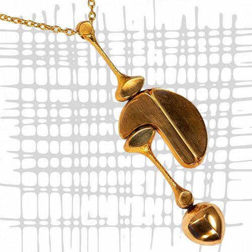 Jorma Laine Large Modernist Bronze Necklace Finland