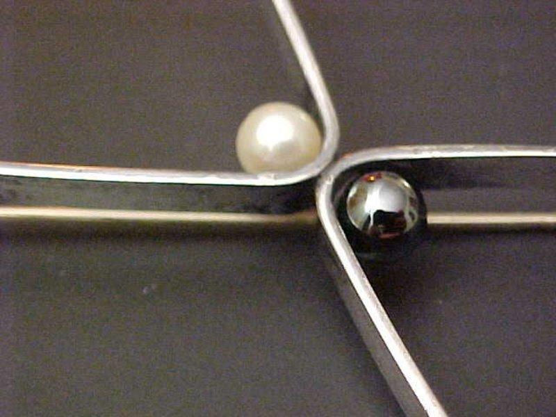 Henry Steig Modernist Sterling Mid Century Pin w/Pearls