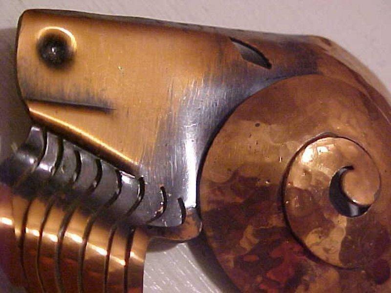 Rebajes Modernist Copper Deco Ram Head Brooch