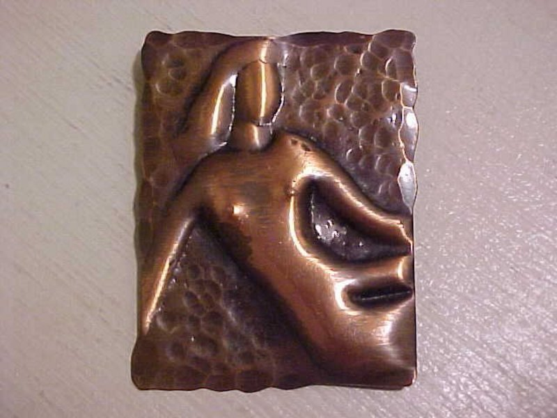 Rebajes American Modernist Copper Deco Lady Nude Pin