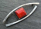 Henry Steig Large Sterling Silver Modernist Brooch