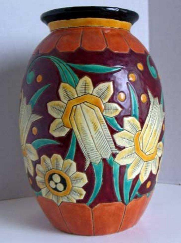 Boch Freres Art Deco Vase - Belgium Keramis