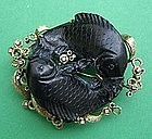 Koi Fish Brooch - Carved Black Jade 14k  & Diamonds