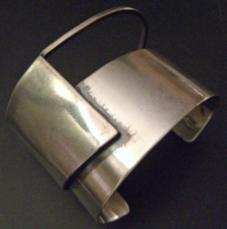 Frank Miraglia Modernist Sterling Deco Bracelet  Cuff