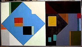 Leonard Brenner Modernist Geometric Abstract Painting