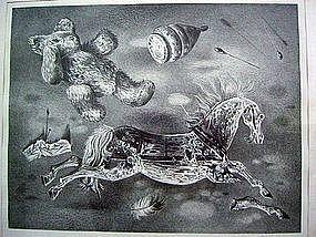 Aaron Bohrod Modernist Lithograph - Surrealist Chicago