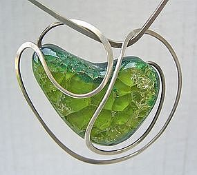 Elsa Freund Modernist Necklace Silver & Glazed Ceramic
