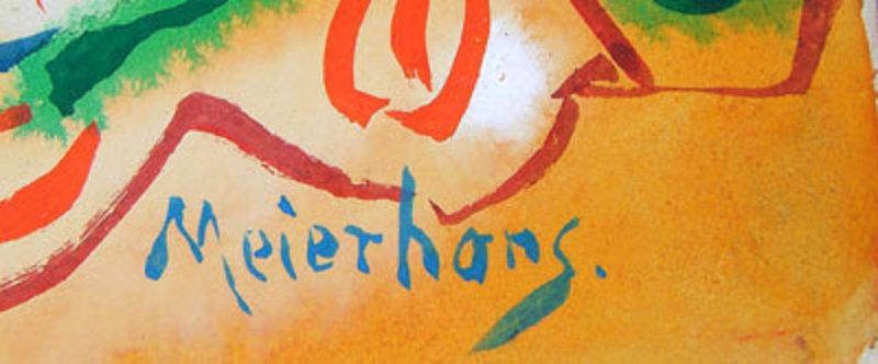 Joseph Meierhans Modernist Abstract Watercolor