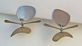 Ed Wiener Modernist Kinetic Sterling Earrings