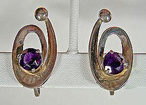 Miguel Melendez Taxco Sterling/Amethyst Earrings