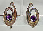 Miguel Melendez Taxco Sterling/Amethyst Earrings