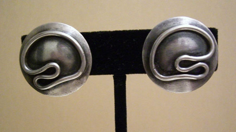 Maxwell Chayat Modernist Sterling Abstract Earrings