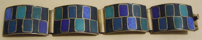Vintage Modernist German Geometric Enamel Bracelet