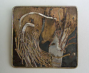 Marci Zelmanoff Mixed Metal Expressionist Brooch