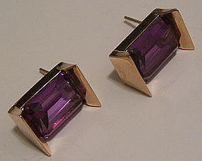 Modernist 14K Gold & Alexandrite Earrings